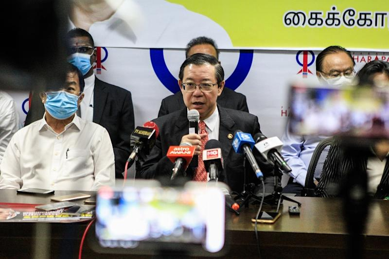Lim Guan Eng at a press conference held at the Bagan Parliament Service Centre in Seberang Perai August 11, 2020. — Picture by Sayuti Zainudin
