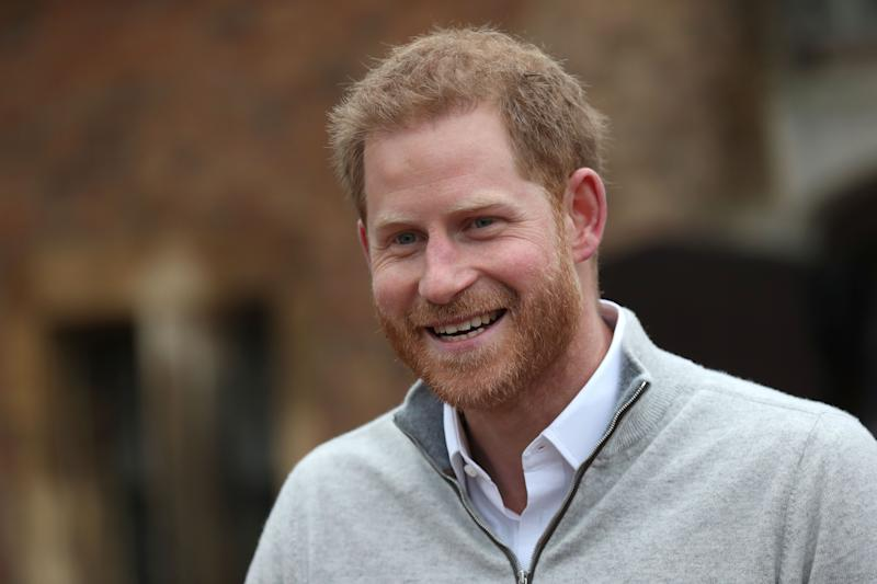 WINDSOR, UNITED KINGDOM - MAY 06: Prince Harry, Duke of Sussex speaks to the media at Windsor Castle following the birth of his son on May 06, 2019 in Windsor, United Kingdom. Meghan, Duchess of Sussex gave birth to a baby boy weighing 7lbs 3oz at 05:26 BST. (Photo by Steve Parsons - WPA Pool/Getty Images)