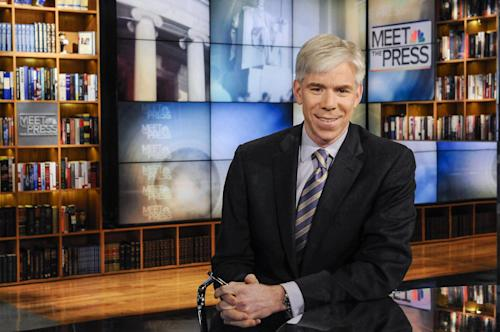 "This Feb. 24, 2013 photo released by NBC News shows moderator David Gregory on the set of ""Meet the Press,"" in Washington. The 42-year-old Gregory was named ""Meet the Press"" moderator in December 2008 after serving as Chief White House correspondent during the presidency of George W. Bush. (AP Photo/NBC, William B. Plowman)"
