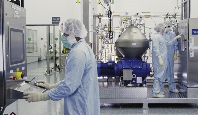 Scientists work at Regeneron Pharmaceuticals in New York state. Photo: AP