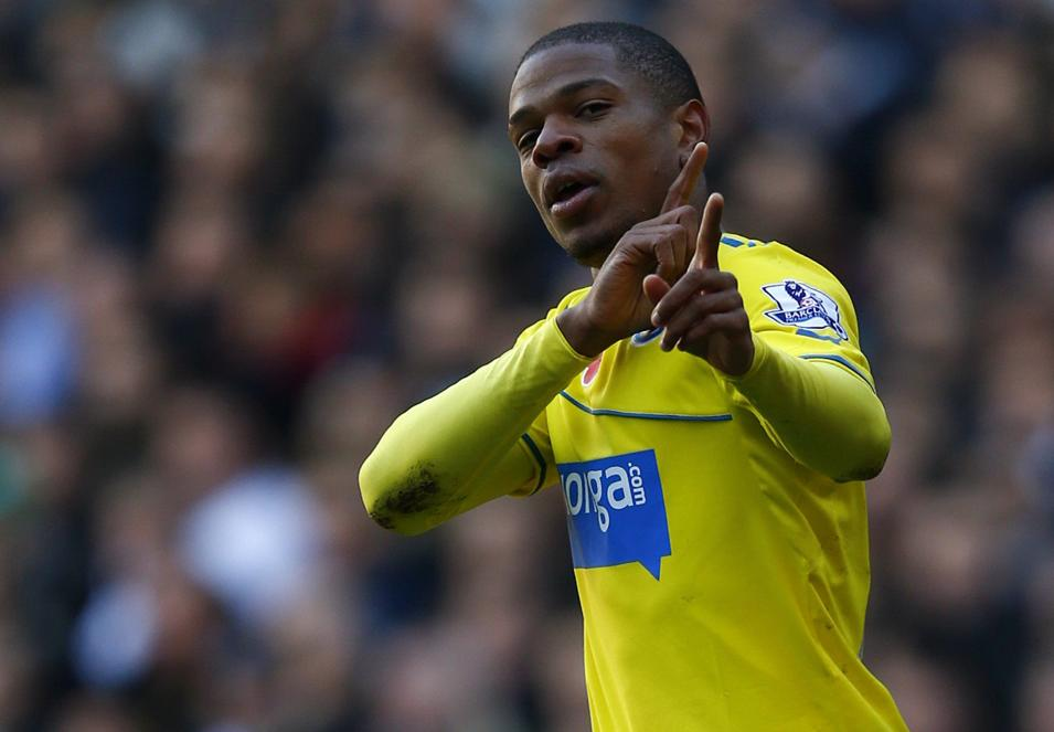 Newcastle United's Remy celebrates his goal against Tottenham Hotspur during their English Premier League soccer match at White Hart Lane in London