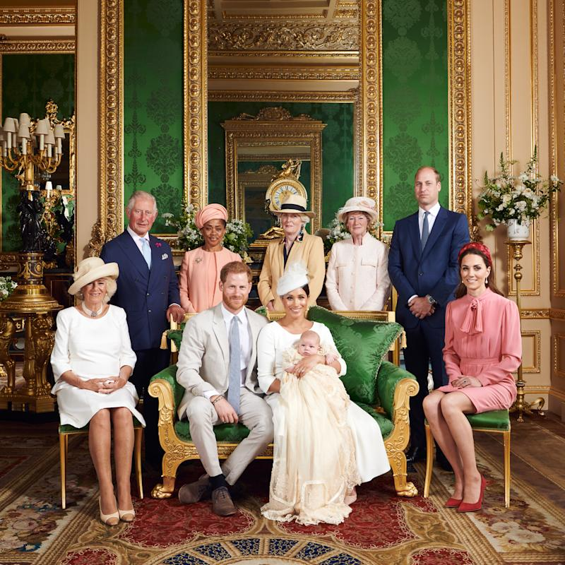 NEWS EDITORIAL USE ONLY. NO COMMERICAL USE. NO MERCHANDISING, ADVERTISING, SOUVENIRS, MEMORABILIA or COLOURABLY SIMILAR. NOT FOR USE AFTER AFTER 31 DECEMBER, 2019 WITHOUT PRIOR PERMISSION FROM ROYAL COMMUNICATIONS. NO CROPPING. Copyright in this photograph is vested in The Duke and Duchess of Sussex. Publications are asked to credit the photographs to Chris Allerton. No charge should be made for the supply, release or publication of the photograph. The photograph must not be digitally enhanced, manipulated or modified in any manner or form and must include all of the individuals in the photograph when published. This official christening photograph released by the Duke and Duchess of Sussex shows the Duke and Duchess with their son, Archie and (left to right) the Duchess of Cornwall, The Prince of Wales, Ms Doria Ragland, Lady Jane Fellowes, Lady Sarah McCorquodale, The Duke of Cambridge and The Duchess of Cambridge in the Green Drawing Room at Windsor Castle.