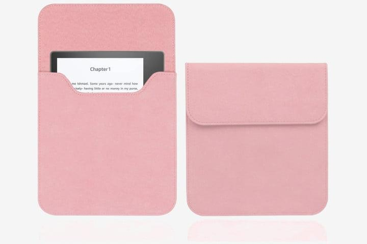 Kindle Oasis in a pink suede sleeve