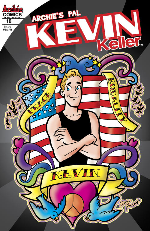 This comic book image released by Archie Comics shows issue 10 of the Kevin Keller issue, where openly-gay character Kevin Keller kisses his boyfriend Devon. The issue will go on sale on Aug. 7. (AP Photo/Archie Comics)