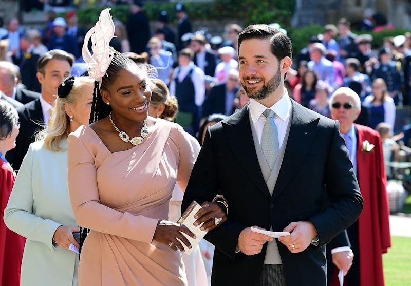 US tennis player Serena Williams and her husband Alexis Ohanian arrive for the wedding ceremony of Britain's Prince Harry, Duke of Sussex and US actress Meghan Markle at St George's Chapel, Windsor Castle, in Windsor, on May 19, 2018