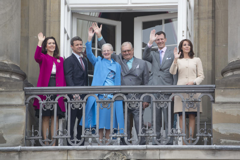 COPENHAGEN, DENMARK- APRIL 16: Queen Margrethe II of Denmark celebrates her 76th Birthday with, ( l to r ) Crown Princess Mary of Denmark and Crown Prince Frederik of Denmark, Queen Margrethe II of Denmark, Prince Henrik of Denmark, Prince Joachim and Princess Marie of Denmark, at Amalienborg Palace, on April 16, 2016, in Copenhagen, Denmark (Photo by Julian Parker/UK Press via Getty Images)