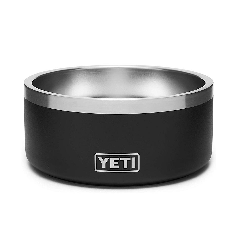"""<p><strong>YETI</strong></p><p>amazon.com</p><p><strong>$39.99</strong></p><p><a href=""""https://www.amazon.com/dp/B07VKF4D99?tag=syn-yahoo-20&ascsubtag=%5Bartid%7C2089.g.19762016%5Bsrc%7Cyahoo-us"""" target=""""_blank"""">Shop Now</a></p><p>The Yeti Boomer is the perfect dog bowl for the outdoor pup. The perfect accessory to keep in your car for treats after the dog park, hiking trips, or beach days, this durable stainless steel dog bowl is perfect for every outdoor adventure.</p><p>The Boomer holds up to 4 cups of food, it's dishwasher-safe, and it also happens to be puncture-, rust-, and dent-resistant! </p>"""