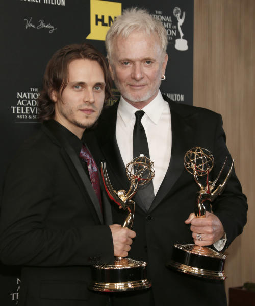 "Jonathan Jackson, left, winner of the award for supporting actor in a drama series for ""General Hospital"" and Anthony Geary, winner of the award for lead actor in a drama series for ""General Hospital,"" pose backstage at 39th Annual Daytime Emmy Awards at the Beverly Hilton Hotel on Saturday, June 23, 2012 in Beverly Hills, Calif. (Photo by Todd Williamson/Invision/AP)"