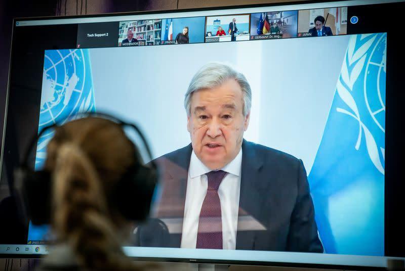 U.N. chief laments lack of global leadership in coronavirus fight