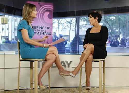 "This image released by NBC shows host Savannah Guthrie, left, listening to TV personality Kris Jenner from ""Keeping Up with the Kardashians,"" during an interview on the ""Today"" show in New York on Tuesday, Sept. 11, 2012. (AP Photo/NBC, Peter Kramer)"