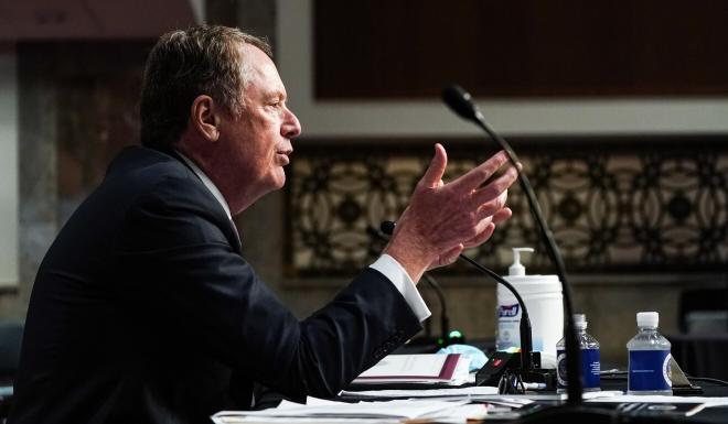 US Trade Representative Robert Lighthizer speaks at a Senate Finance Committee hearing in Washington on Wednesday. Photo: EPA-EFE