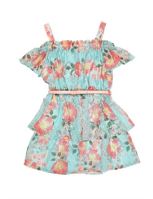 Review's Floral Off The Shoulder Dress which sells $89.95.