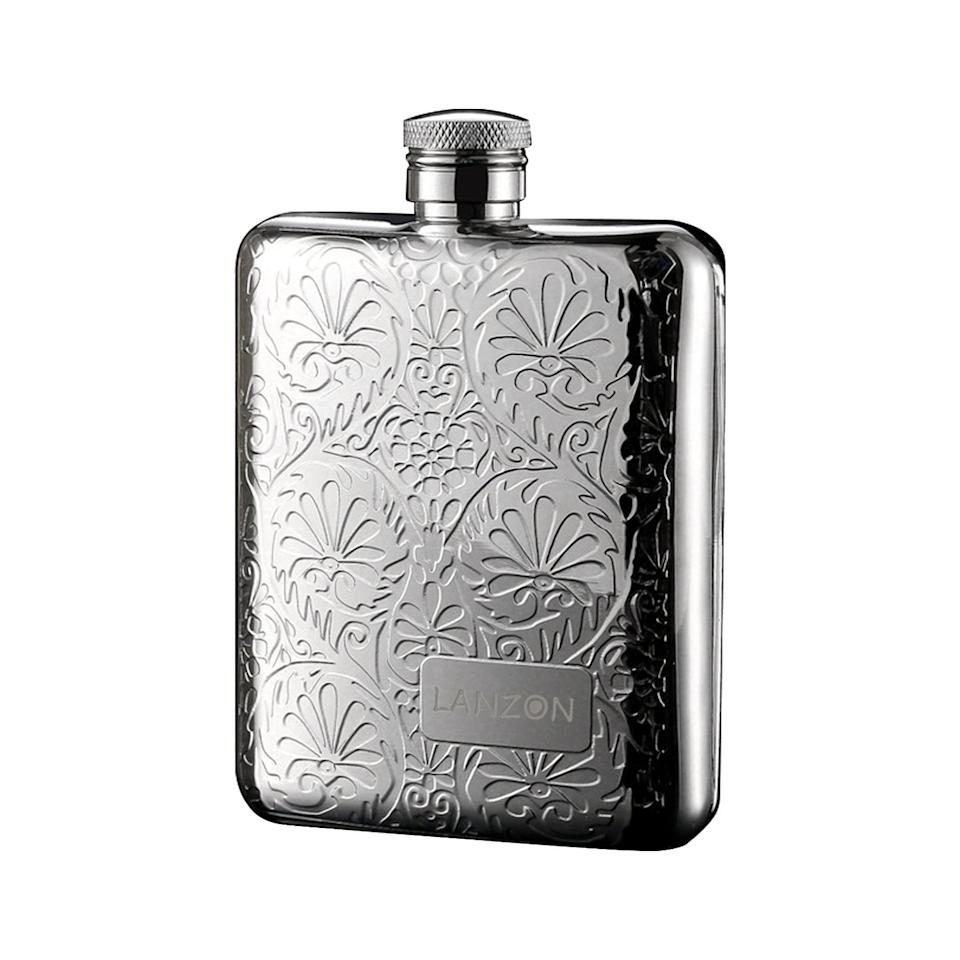 """<p>If bold colors aren't your thing, the <a href=""""https://www.popsugar.com/buy/Lanzon-Flower-Pattern-Hip-Flask-485665?p_name=Lanzon%20Flower%20Pattern%20Hip%20Flask&retailer=amazon.com&pid=485665&price=20&evar1=yum%3Aus&evar9=46561084&evar98=https%3A%2F%2Fwww.popsugar.com%2Ffood%2Fphoto-gallery%2F46561084%2Fimage%2F46561158%2FLanzon-Flower-Pattern-Hip-Flask&list1=accessories%2Calcohol&prop13=api&pdata=1"""" rel=""""nofollow"""" data-shoppable-link=""""1"""" target=""""_blank"""" class=""""ga-track"""" data-ga-category=""""Related"""" data-ga-label=""""https://www.amazon.com/LANZON-Funnel-Stainless-Capacity-Pattern/dp/B077TB4MQ9/ref=sr_1_7?keywords=cute+flasks&amp;qid=1567087366&amp;s=gateway&amp;sr=8-7"""" data-ga-action=""""In-Line Links"""">Lanzon Flower Pattern Hip Flask</a> ($20) still has plenty of style with this stunning and intricate pattern.</p>"""
