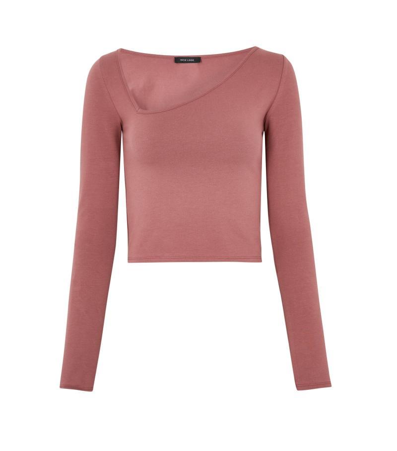 Deep Pink Asymmetric Neck Long Sleeve Top. Image via New Look.