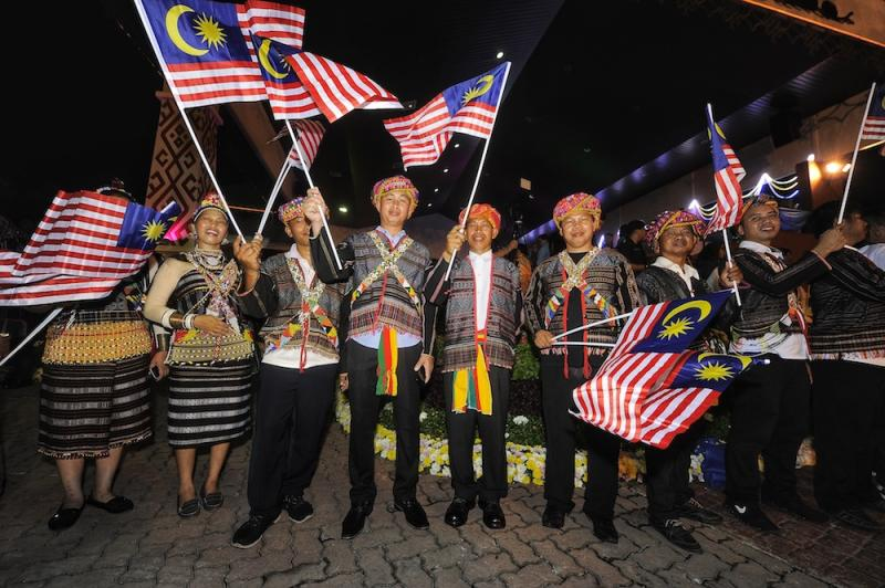 Participants get ready for 2018 Malaysia Day Celebrations at Padang Merdeka in Kota Kinabalu September 16, 2018. — Picture by Shafwan Zaidon