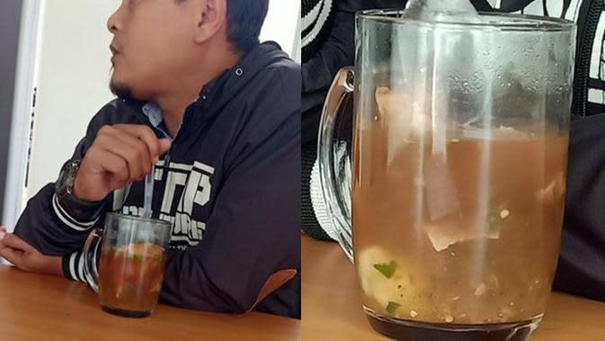 5 Aksi Nyeleneh Makan Pakai Gelas Ini Bikin Geleng Kepala (sumber: Twitter.com/hanyusuper)
