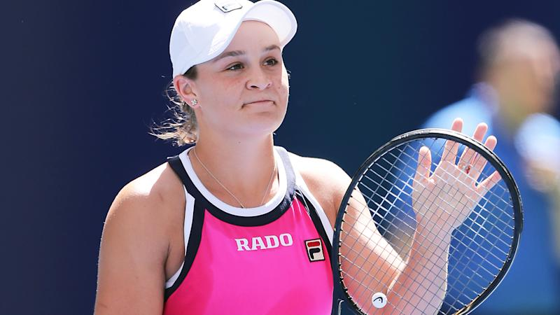 Ash Barty came extremely close to making history in the doubles finals at the US Open. (Photo by Elsa/Getty Images)