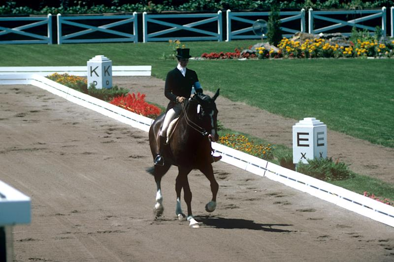 Princess Anne, on her horse, Goodwill, during the Dressage section of the Three Day Eventing, at the Montreal Olympic Games. (Photo by S&G/PA Images via Getty Images)