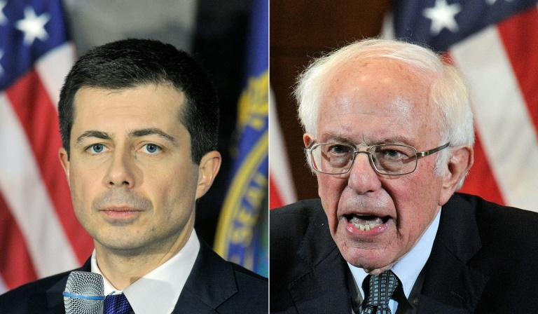 Pete Buttigieg (left) and Bernie Sanders are separated by a razor-thin margin in Iowa