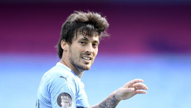 Gelandang serang Manchester City, David Silva. (Peter Powelll/Pool via AP)
