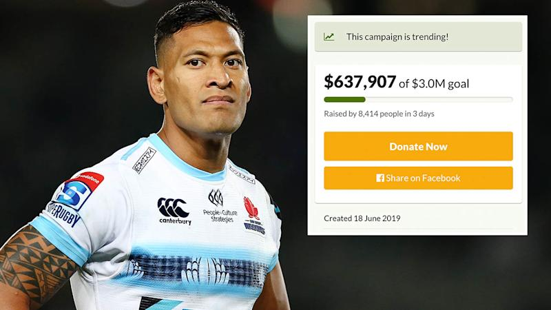 Israel Folau's fund has over $600,000. (Photo by Anthony Au-Yeung/Getty Images)