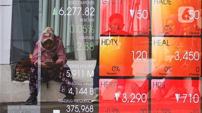 Pejalan kaki duduk di dekat layar pergerakan Indeks Harga Saham Gabungan (IHSG) di kawasan Jakarta, Senin (13/1/2020). IHSG sore ini ditutup di zona hijau pada level 6.296 naik 21,62 poin atau 0,34 persen. (Liputan6.com/Angga Yuniar)