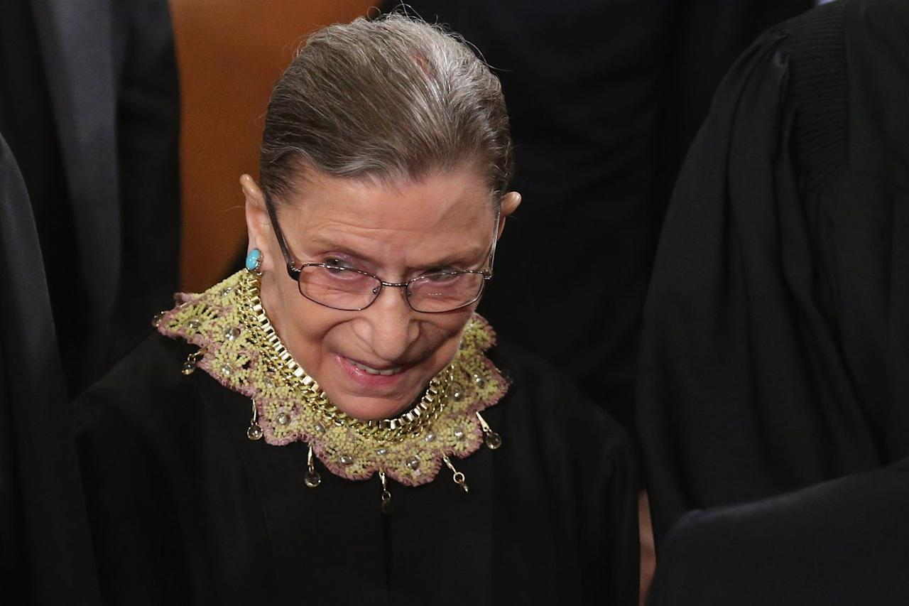 """<p>""""When I am announcing an opinion for the court, this is the collar I wear,"""" Ginsburg told Couric about a yellow crochet jabot with pink edges that features a chain and gold appliqués. She also expressed that it was a gift from her law clerks. Indeed, not only is the design fun and colorful, it holds deep sentimental value, making it perfect for court rulings that she agrees with. </p>"""