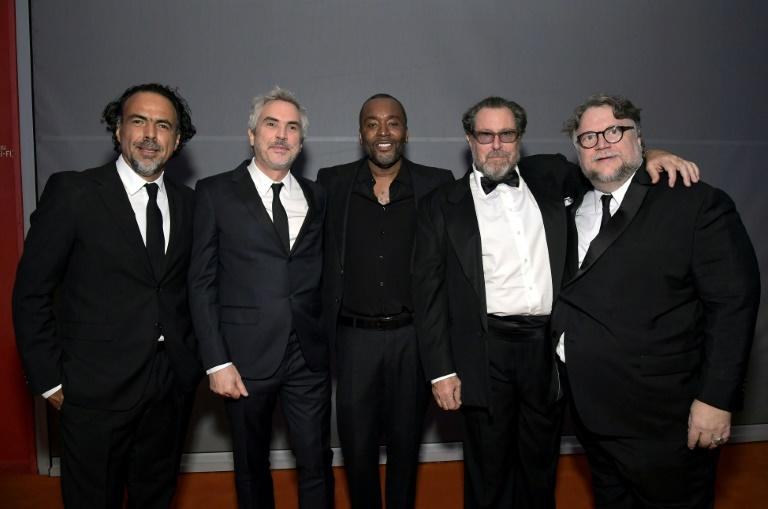 Directors Alejandro Gonzalez Inarritu, Alfonso Cuaron and  Guillermo del Toro -- pictured with Lee Daniels (center) and, Julian Schnabel (2nd from right) -- said their fund was for anyone working in movies in need of financial help