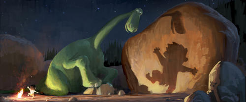 "This publicity image released by Disney-Pixar shows Arlo, a 70-foot-tall teenage Apatosaurus, and a young human boy named Spot in a concept art image for ""The Good Dinosaur."" Walt Disney Pictures has pushed the release date of the film to November 2015, leaving the Pixar cupboard bare for next year. The 3-D film had been planned to hit theaters in May before Disney's announcement Wednesday, Sept. 18, 2013. It means that 2014 will be the first year since 2005 to go without a new Pixar movie. (AP Photo/Disney-Pixar)"