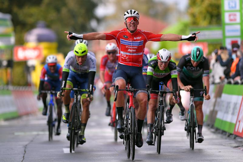 AALTER BELGIUM OCTOBER 01 Arrival Mads Pedersen of Denmark and Team Trek Segafredo Red Points Jersey Celebration Jasper Philipsen of Belgium and UAE Team Emirates Green Leader Jersey Danny Van Poppel of The Netherlands and Team Circus Wanty Gobert during the 16th BinckBank Tour 2020 Stage 3 a 157km stage from Aalter to Aalter BinckBankTour BinckBankTour on October 01 2020 in Aalter Belgium Photo by Luc ClaessenGetty Images