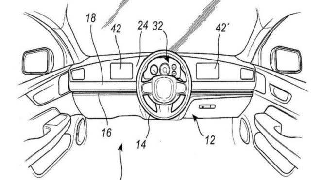 Gambar paten setir mobil Volvo yang bisa digeser-geser
