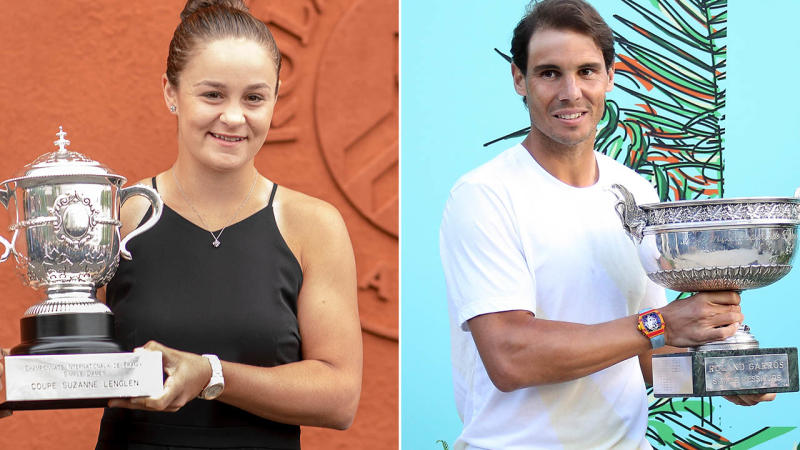 Ash Barty and Rafael Nadal with their trophies. Image: Getty