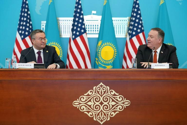 U.S. Secretary of State Mike Pompeo at a news conference with Kazakh Foreign Minister Mukhtar Tleuberdi in Nur-Sultan