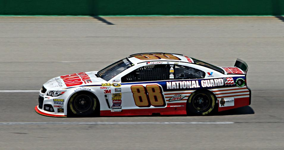 NASCAR driver Dale Earnhardt, Jr., turns practice laps in preparation for this week's NASCAR Sprint Cup series auto race at Kentucky Speedway in Sparta, Ky., Friday June 27, 2014. The race is scheduled for Saturday night. (AP Photo/Garry Jones)