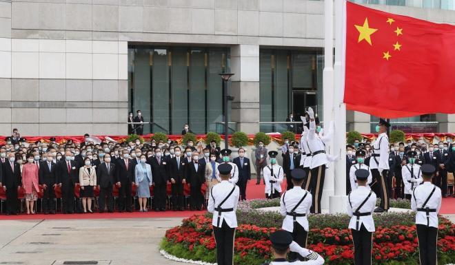 The flag-raising ceremony at Golden Bauhinia Square in Wan Chai. Photo: Nora Tam