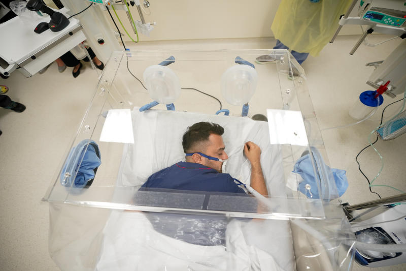 The detachable bio-aerosol containment units comes in three models and can be fixed onto hospital beds. (PHOTO: Ng Teng Fong General Hospital)