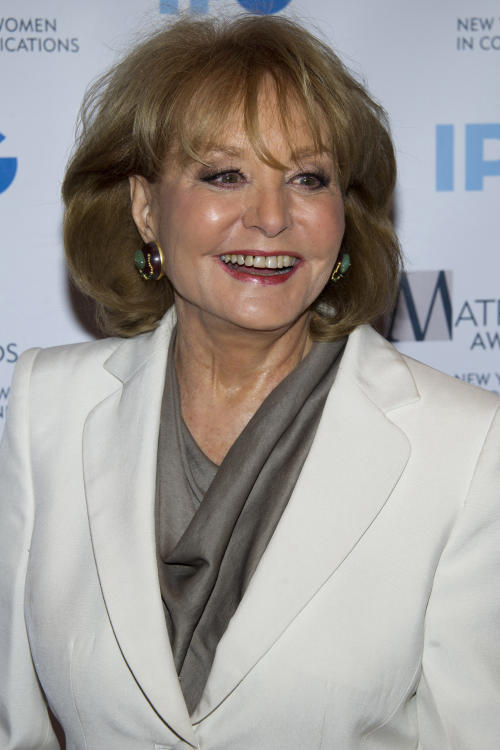 FILE - In this April 23, 2012 file photo, Barbara Walters arrives to the Matrix Awards in New York. Walters plans to retire next year, ending a television career that began more than a half century ago and made her a trailblazer in news and daytime TV. Someone who works closely with Walters says the plan is for her to retire in May 2014 after a series of special programs saluting her career. The person was not authorized to discuss the matter publicly and spoke to The Associated Press on Thursday, March 28, 2013 on condition of anonymity. (AP Photo/Charles Sykes, File)