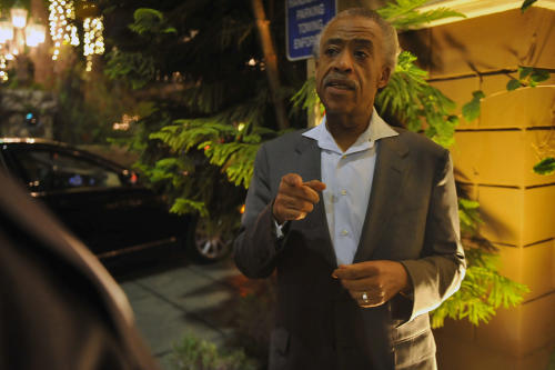 Al Sharpton speaks about the death of singer Whitney Houston as he stands outside the Four Seasons Hotel, Saturday, Feb. 11, 2012 in Beverly Hills, Calif. (AP Photo/Richard Hartog)
