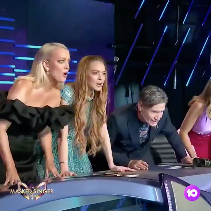 Lindsay Lohan's awkward reaction to The Masked Singer Australia reveal. Photo: Channel 10.