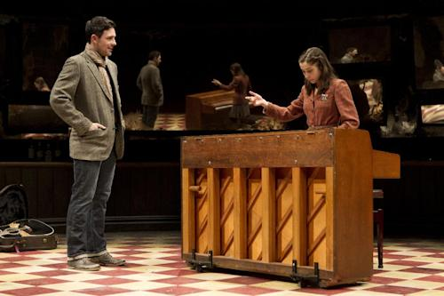 """In this undated image released by Richard Kornberg & Associates, Steve Kazee, left, and Cristin Milioti are shown in a scene from """"Once,"""" performing at the New York Theatre Workshop in New York. The production was nominated for a Tony Award for best musical, Tuesday, May 1, 2012. (AP Photo/Richard Kornberg & Associates, Joan Marcus)"""