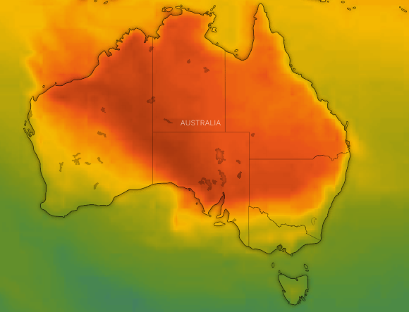 A heat map of the hot air mass moving east across Australia on Saturday.
