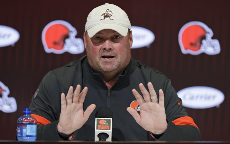 Cleveland Browns head coach Freddie Kitchens answers questions during a news conference at the NFL football team's training camp facility, Wednesday, July 24, 2019, in Berea, Ohio. (AP Photo/Tony Dejak)