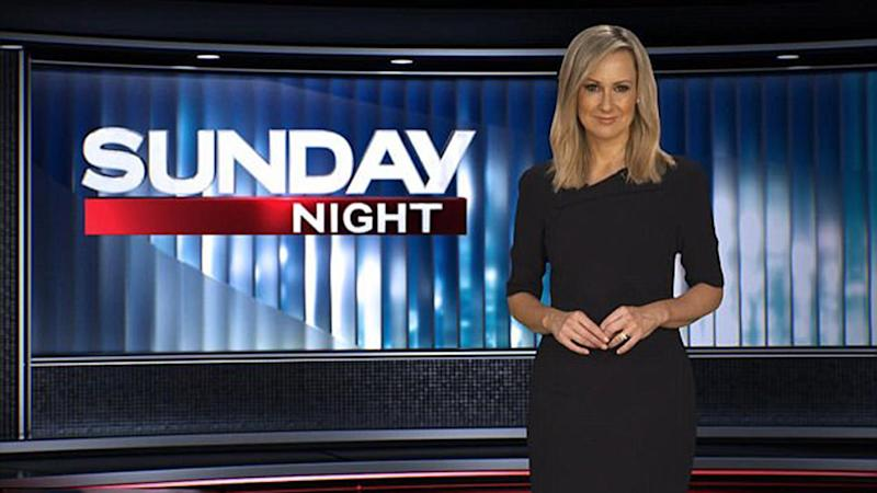 Melissa Doyle host of Sunday Night pictured on the set of Channel Seven's Sunday Night