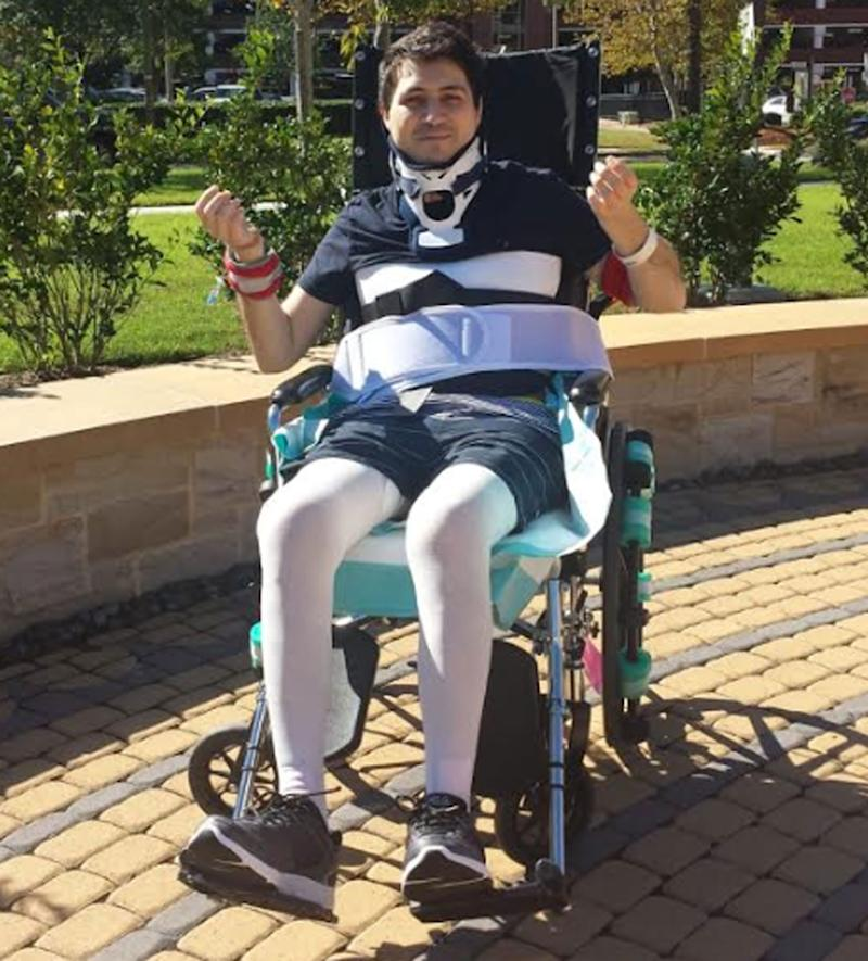 Sydney man Gilbert Sahyoun, 38, has been left quadriplegic after diving into shallow water at Pamlico Sound, North Carolina during a family reunion. Source: Supplied/Christine Sahyoun