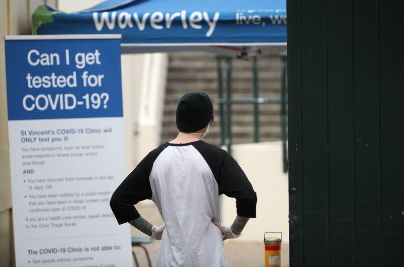 A pop-up clinic begins testing for the coronavirus disease (COVID-19) at Bondi Beach, Sydney
