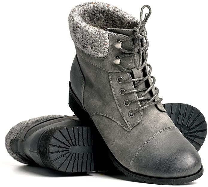 DLG Izzy Womens Vegan Leather Lace up Boot. Image via Amazon.