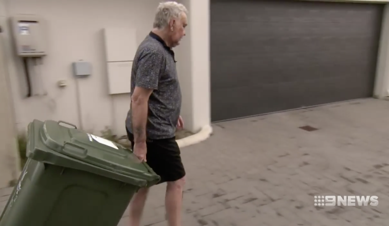 Pictured is Mr Willison taking out his bin at his Ellenbrook home.
