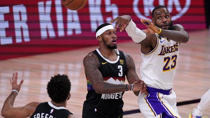 Hasil NBA Nuggets vs Lakers: Triple Double Sia-sia LeBron James (AP)