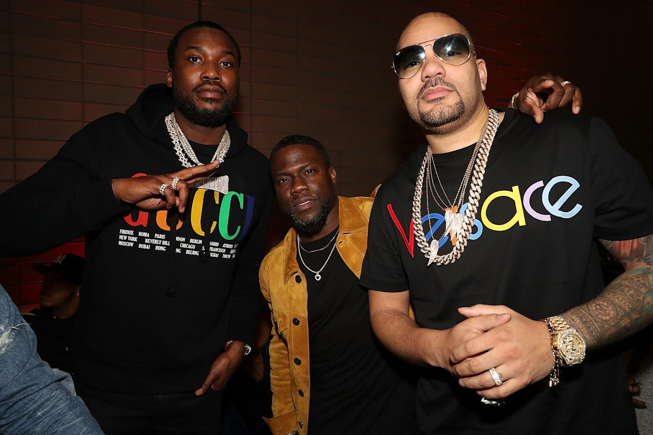 <p><span>Dj Envy, Kevin Hart and Meek Mill attend Fanatics Super Bowl Party at College Football Hall of Fame. Photo: Getty Imgaes</span> </p>