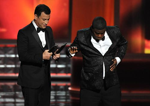 Host Jimmy Kimmel, left, and Tracy Morgan perform onstage at the 64th Primetime Emmy Awards at the Nokia Theatre on Sunday, Sept. 23, 2012, in Los Angeles. (Photo by John Shearer/Invision/AP)